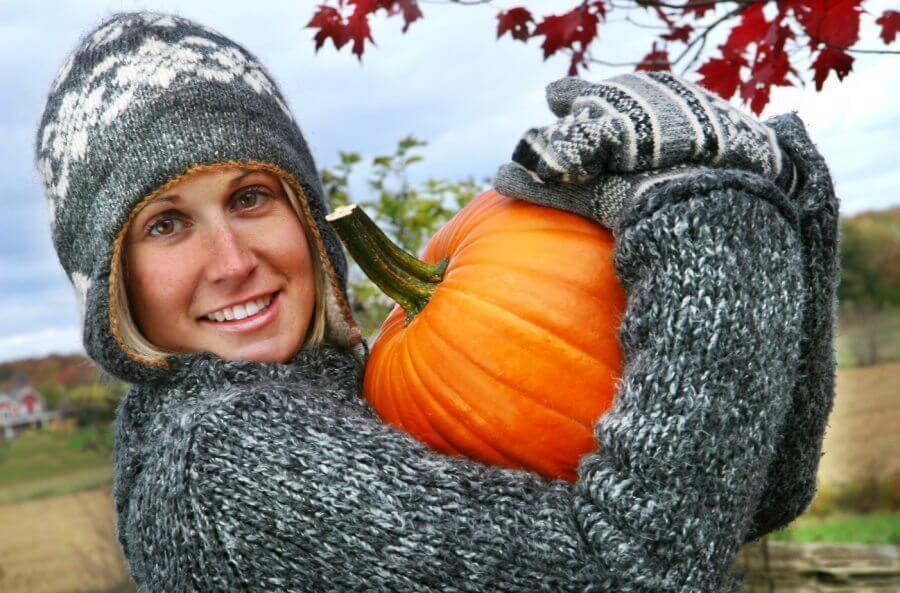 Gathering pumpkins
