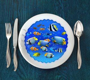 Underwater scene on plate. Photomanipulation, concept graphic.